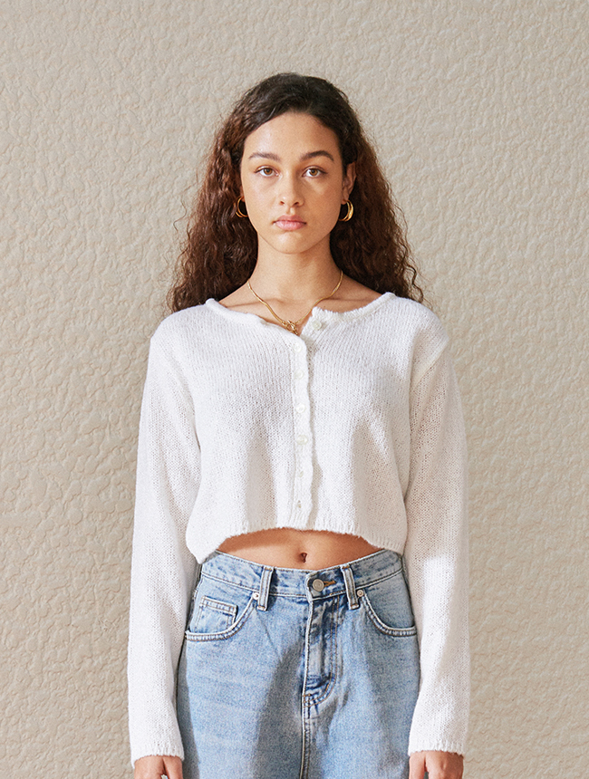classic cropped cardigan (ivory)
