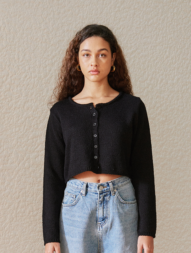 classic cropped cardigan (black)