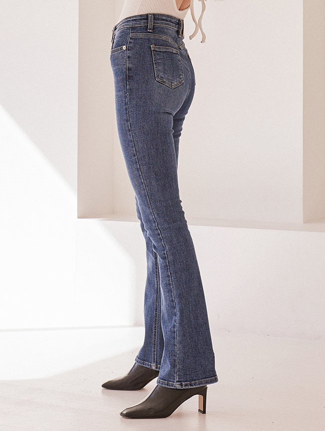 High-waist bootscut denim Darkblue