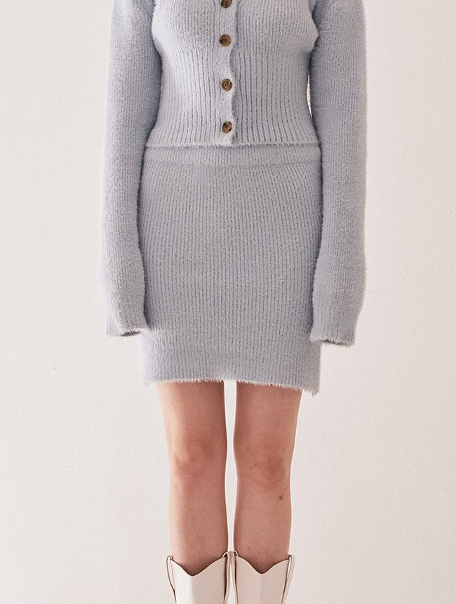 Fluffy knit skirt babyblue